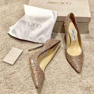 Jimmy Choo Romy 100 Glitter Pointed-Toe Pumps